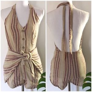 Free People Intimately Waist Tied Striped Romper S